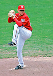 5 August 2007: Washington Nationals pitcher Saul Rivera in action against the St. Louis Cardinals at RFK Stadium in Washington, DC. The Nationals defeated the Cardinals 6-3 to sweep their 3-game series...Mandatory Photo Credit: Ed Wolfstein Photo