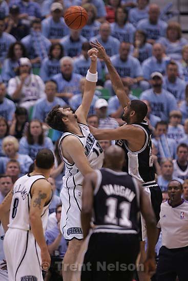Utah Jazz center Mehmet Okur (13) San Antonio Spurs forward Tim Duncan  (21) Salt Lake City - Utah Jazz vs. San Antonio Spurs, Western Conference Finals game three at EnergySolutions Arena..5.26.2007