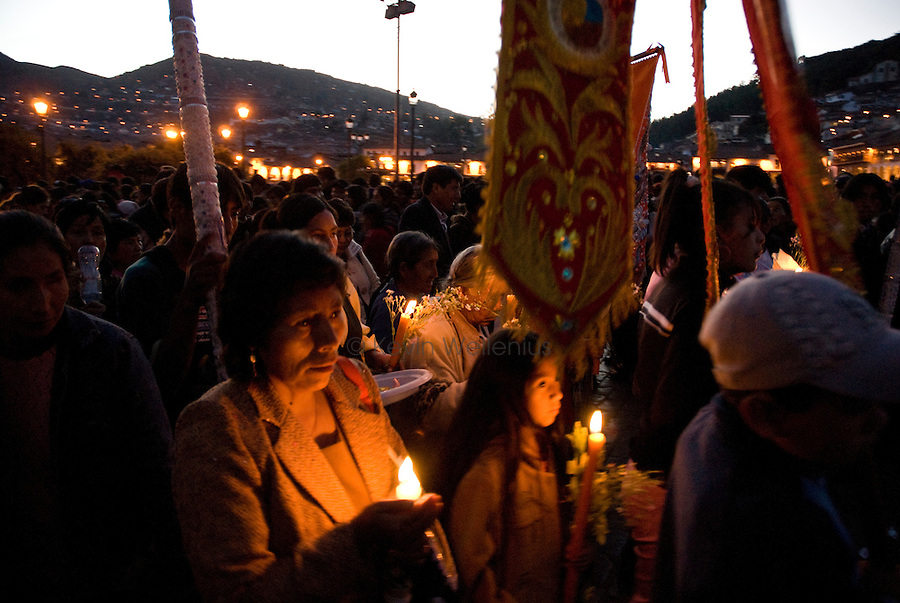For the annual festival of Corpus Christi in Cusco, Peru, area churches prepare large effigies of their patron saints and bring them to the Cathedral. On the night of the festival, the effigies are paraded around Cusco's Plaza de Armas as they begin their journey back to their home churches, some over 20 km away, accompanied by church elders, music, and celebration.
