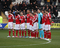 Aberdeen team standing for the minutes silence for Remembrance Day in the St Mirren v Aberdeen Clydesdale Bank Scottish Premier League match played at St Mirren Park, Paisley on 9.11.12.