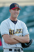 Justin Schuda of the Bakersfield Blaze before a California League 2002 season game against the Lancaster JetHawks at The Hanger, in Lancaster, California. (Larry Goren/Four Seam Images)