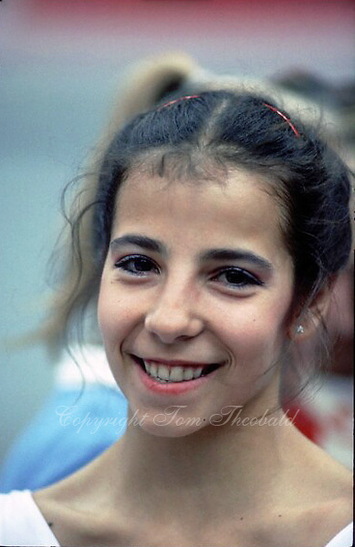 July 24, 1986; Moscow, Soviet Union; Adriana Dunavska of Bulgaria, rhythmic gymnast smiles to camera during portrait at Goodwill Games 1986 Goodwill Games Moscow. .(©) Copyright 1986 Tom Theobald