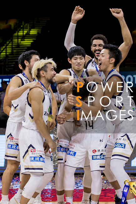 Ryukyu Golden Kings celebrates winning The Asia League's The Terrific 12 tournament at the Award Presentation ceremony at Studio City Event Center on 23 September 2018, in Macau, Macau. Photo by Yu Chun Christopher Wong / Power Sport Images for Asia League