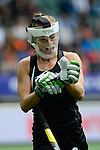 The Hague, Netherlands, May 31: Petrea Webster #6 of New Zealand removes her gloves after a penalty corner during the field hockey group match (Group A) between New Zealand´s Black Sticks and Belgium on May 31, 2014 during the World Cup 2014 at Kyocera Stadium in The Hague, Netherlands. Final score 4:3 (3:0) (Photo by Dirk Markgraf / www.265-images.com) *** Local caption ***