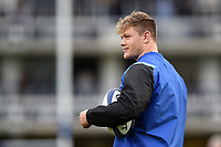 Nick Auterac of Bath Rugby looks on during the pre-match warm-up. European Rugby Champions Cup match, between Bath Rugby and Benetton Rugby on October 14, 2017 at the Recreation Ground in Bath, England. Photo by: Patrick Khachfe / Onside Images
