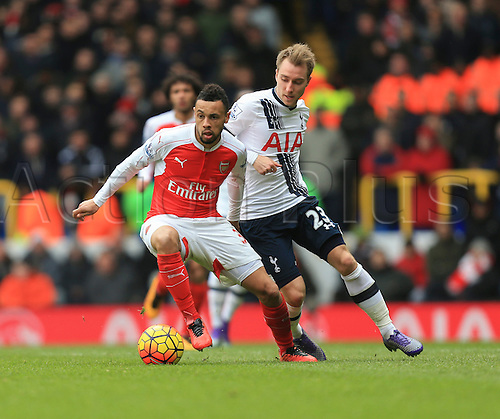 05.03.2016. White Hart Lane, London, England. Barclays Premier League. Tottenham Hotspur versus Arsenal. Francis Coquelin of Arsenal gets away from Christian Eriksen of Tottenham Hotspur.