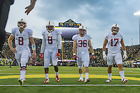 EUGENE, OR - NOVEMBER 1, 2014:  Captains before Stanford's game against Oregon. The Ducks defeated the Cardinal 45-16.