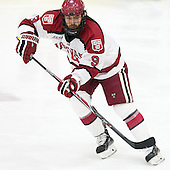 Luke Esposito (Harvard - 9) - The Harvard University Crimson defeated the visiting Princeton University Tigers 5-0 on Harvard's senior night on Saturday, February 28, 2015, at Bright-Landry Hockey Center in Boston, Massachusetts.