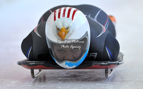 Katie Uhleander (USA). Womens Skeleton training. Pyeongchang2018 winter Olympics. Olympic sliding centre. Alpensia. Pyeongchang. Republic of Korea. 07/02/2018. ~ MANDATORY CREDIT Garry Bowden/SIPPA - NO UNAUTHORISED USE - +44 7837 394578