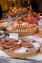 Paris, France. 09.05.2015. Live crabs, Rue Mouffetarde, Paris, France. Photograph © Jane Hobson.