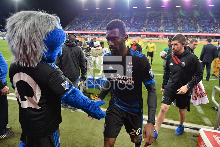 San Jose, CA - Saturday, March 11, 2017: Q, Shaun Francis during a Major League Soccer (MLS) match between the San Jose Earthquakes and the Vancouver Whitecaps FC at Avaya Stadium.