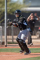 Chicago White Sox catcher Alfredo Gonzalez (59) during a Minor League Spring Training game against the Cincinnati Reds at the Cincinnati Reds Training Complex on March 28, 2018 in Goodyear, Arizona. (Zachary Lucy/Four Seam Images)