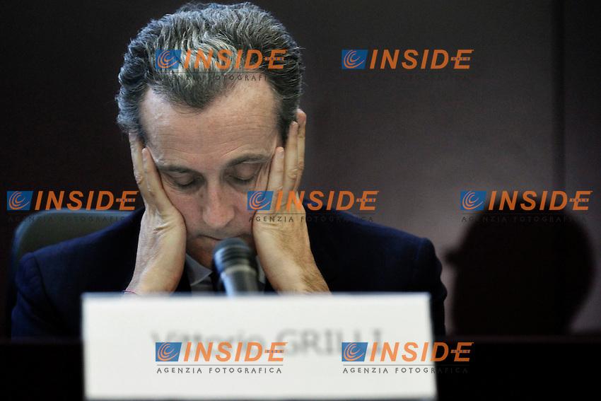 Il Vice Ministro per l'Economia e le Finanze Vittorio Grilli.Roma 16/05/2012 Conferenza stampa al termine dell'incontro tra Ministero del Tesoro e il Fondo Monetario Internazionale..Foto Serena Cremaschi Insidefoto