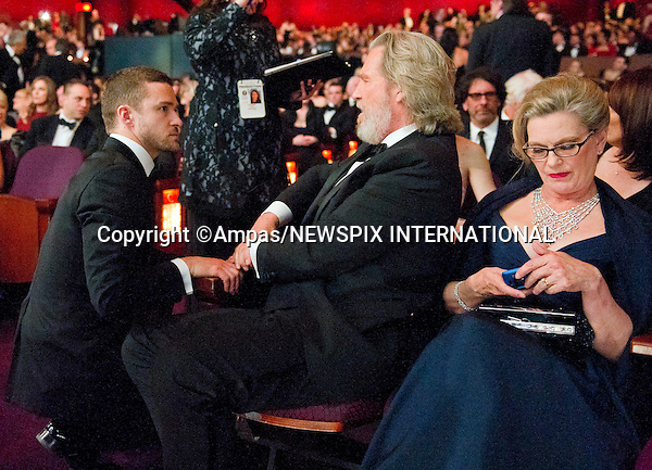 "JUSTIN TIMBERLAKE AND JEFF BRIDGES.83rd OSCARS.The 83rd Academy Awards at the Kodak Theatre, Los Angeles_27/02/2011.Mandatory Photo Credit: ©Newspix International..**ALL FEES PAYABLE TO: ""NEWSPIX INTERNATIONAL""**..PHOTO CREDIT MANDATORY!!: NEWSPIX INTERNATIONAL(Failure to credit will incur a surcharge of 100% of reproduction fees)..IMMEDIATE CONFIRMATION OF USAGE REQUIRED:.Newspix International, 31 Chinnery Hill, Bishop's Stortford, ENGLAND CM23 3PS.Tel:+441279 324672  ; Fax: +441279656877.Mobile:  0777568 1153.e-mail: info@newspixinternational.co.uk"