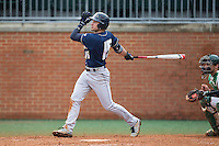 Dom Iero (15) of the Akron Zips follows through on his swing against the Charlotte 49ers at Hayes Stadium on February 22, 2015 in Charlotte, North Carolina.  The Zips defeated the 49ers 5-4.  (Brian Westerholt/Four Seam Images)