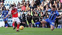 Fleetwood Town's Jason Holt has his shot blocked by  Gillingham's Darren Oldaker<br /> <br /> Photographer Andrew Kearns/CameraSport<br /> <br /> The EFL Sky Bet League One - Gillingham v Fleetwood Town - Saturday 3rd November 2018 - Priestfield Stadium - Gillingham<br /> <br /> World Copyright &copy; 2018 CameraSport. All rights reserved. 43 Linden Ave. Countesthorpe. Leicester. England. LE8 5PG - Tel: +44 (0) 116 277 4147 - admin@camerasport.com - www.camerasport.com