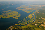 Aerial View of the Columbia River Wetlands Near Swenson, Oregon