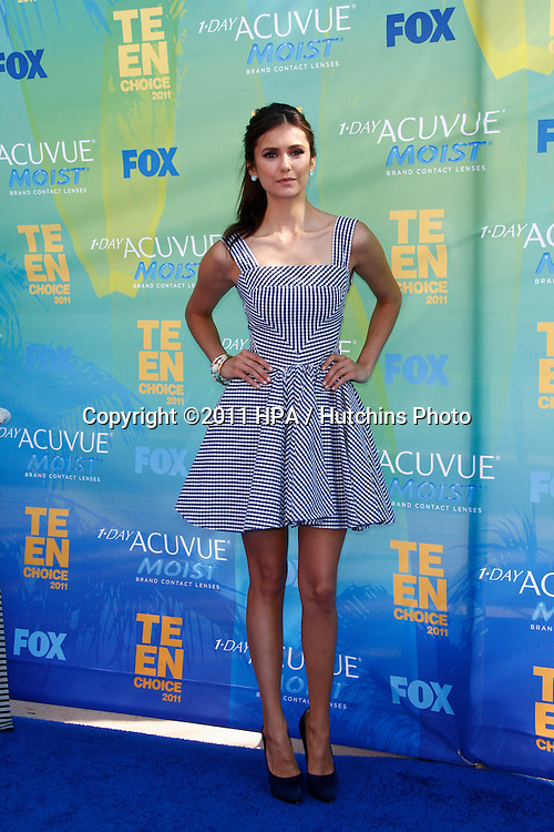 LOS ANGELES - AUG 7:  Nina Dobrev arriving at the 2011 Teen Choice Awards at Gibson Amphitheatre on August 7, 2011 in Los Angeles, CA