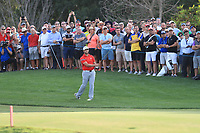 Jon Rahm (ESP) on the 18th fairway during Round 4 of the DP World Tour Championship 2017, at Jumeirah Golf Estates, Dubai, United Arab Emirates. 19/11/2017<br /> Picture: Golffile | Thos Caffrey<br /> <br /> <br /> All photo usage must carry mandatory copyright credit     (© Golffile | Thos Caffrey)
