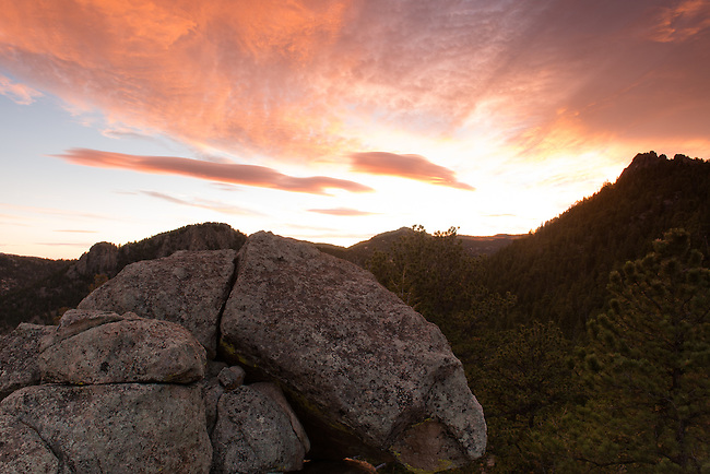 sunrise sky in the Rocky Mountains above Estes Park, Colorado,USA