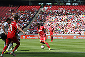 02.08.2015. Cologne, Germany. Pre Season Tournament. Colonia Cup. FC Cologne versus Valencia CF. Milos Jojic finds room on the edge of the box before firing Cologne in front.