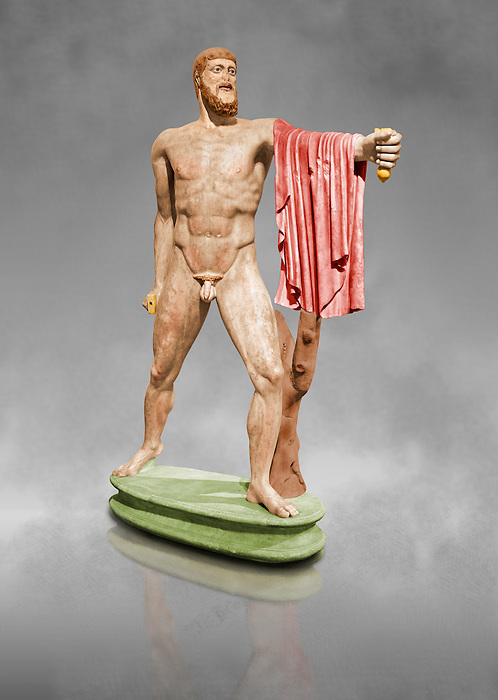 Painted colour verion of 2nd century AD Roman marble sculpture of Harmodius  from the Tyrannicide group,  a Roman copy of an early classical period Geek original, inv 6009, Museum of Archaeology, Italy