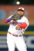 Buffalo Bisons first baseman Luis Jimenez #53 during the second game of a double header against the Lehigh Valley IronPigs on June 7, 2013 at Coca-Cola Field in Buffalo, New York.  Lehigh Valley defeated Buffalo 4-0.  (Mike Janes/Four Seam Images)