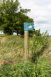 Public bridleway signpost in countryside near Chisbury, Wiltshire, England, UK
