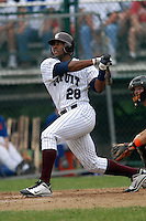 Outfielder Victor Roache (Georgia Southern Eagles) #28 of the Cotuit Kettleers sends a home run over the left field fence during a game versus the Hyannis Harbor Hawks on June 28, 2011 at Lowell Park in Cotuit, Massachusetts. (Ken Babbitt/SportsPix/Four Seam Images)