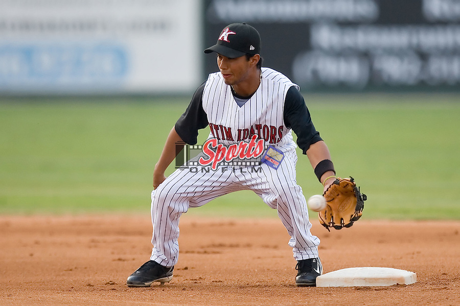 Second baseman Oney Guillen (22) of the Kannapolis Intimidators fields a throw between innings at Fieldcrest Cannon Stadium in Kannapolis, NC, Wednesday August 21, 2008. (Photo by Brian Westerholt / Four Seam Images)