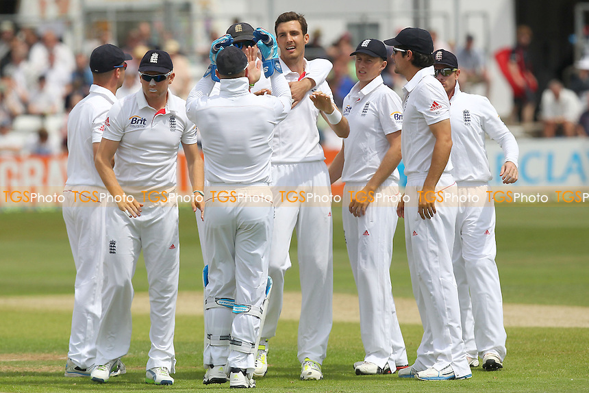 Steven Finn (C) of England is congratulated on taking the wicket of Tom Westley - Essex CCC vs England - LV Challenge Match at the Essex County Ground, Chelmsford - 01/07/13 - MANDATORY CREDIT: Gavin Ellis/TGSPHOTO - Self billing applies where appropriate - 0845 094 6026 - contact@tgsphoto.co.uk - NO UNPAID USE