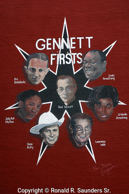 Mural on brick building depicting the famous musicians who were the pioneers among the first recording artists of Gennett records.<br /> <br /> Fred Gennett and 6 famed  musicians