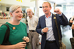 "© Joel Goodman - 07973 332324 . 09/06/2016 . Manchester , UK . Liberal Democrat leader TIM FARRON campaigning for Remain at an "" EU Tunnel "" display , at the People's History Museum in Manchester . Photo credit : Joel Goodman"