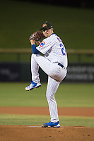 Mesa Solar Sox starting pitcher Alec Mills (24), of the Chicago Cubs organization, delivers a pitch to the plate during a game against the Glendale Desert Dogs on October 16, 2017 at Sloan Park in Mesa, Arizona. The Desert Dogs defeated the Solar Sox 2-0.  (Zachary Lucy/Four Seam Images)