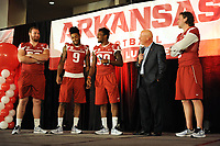 NWA Democrat-Gazette/ANDY SHUPE<br /> Chuck Barrett (center), voice of the Razorbacks, interviews team captains Frank Ragnow (from left), Santos Ramirez, Kevin Richardson II and Austin Allen Friday, Aug. 18, 2017, during the Kickoff Luncheon at the Northwest Arkansas Convention Center in Springdale. Visit nwadg.com/photos to see more photographs from the luncheon.
