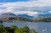 Picturesque fishing village of Shieldaig across the sea loch of Loch Torridon in Argyll, Wester Ross in the Highlands of Scotland