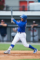 Jose Martinez (2) of the Burlington Royals follows through on his swing against the Danville Braves at Burlington Athletic Park on July 12, 2015 in Burlington, North Carolina.  The Royals defeated the Braves 9-3. (Brian Westerholt/Four Seam Images)