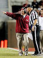 TALLAHASSEE, FL 11/19/11-FSU-UVA111911 CH-Florida State Head Coach Jimbo Fisher protests a call during second half action of the Virginia game Saturday at Doak Campbell Stadium in Tallahassee. The Seminoles lost to the Cavaliers 14-13..COLIN HACKLEY PHOTO