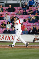 July 7, 2009: Salem-Keizer Volcanoes' Juan Martinez at-bat during a Northwest League game against the Tri-City Dust Devils at Volcanoes Stadium in Salem, Oregon.