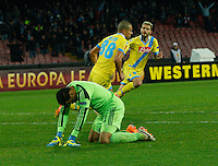 Gokhan Inler celebrates after scoring<br /> <br />  UEFA Europa League round of 32 second  leg match, betweenAC  Napoli  and Swansea City   at San Paolo stadium in Naples, Feburary 27 , 2014