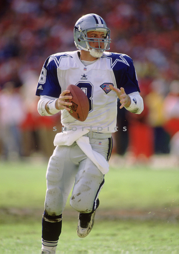 Dallas Cowboys Troy Aikman (8) during a game from his 1994 season. Troy Aikman played for 12 years, with all with the Cowboys, was a 6-time Pro Bowler and was inducted to the Pro Football Hall of Fame in 2006.