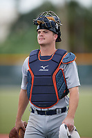 Detroit Tigers catcher Jake Rogers (52) during practice before an Instructional League game against the Pittsburgh Pirates on October 6, 2017 at Pirate City in Bradenton, Florida.  (Mike Janes/Four Seam Images)