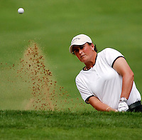 Michelle Ellis hits out of the sand trap on the 18th green in the second round of the LPGA  Betsy King Classic tournament  Friday, Aug. 23, 2002  in Kutztown, Pa. (AP Photo/Brad C Bower)