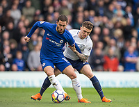 Eden Hazard of Chelsea holds off Kieran Trippier of Spurs during the Premier League match between Chelsea and Tottenham Hotspur at Stamford Bridge, London, England on 1 April 2018. Photo by Andy Rowland.