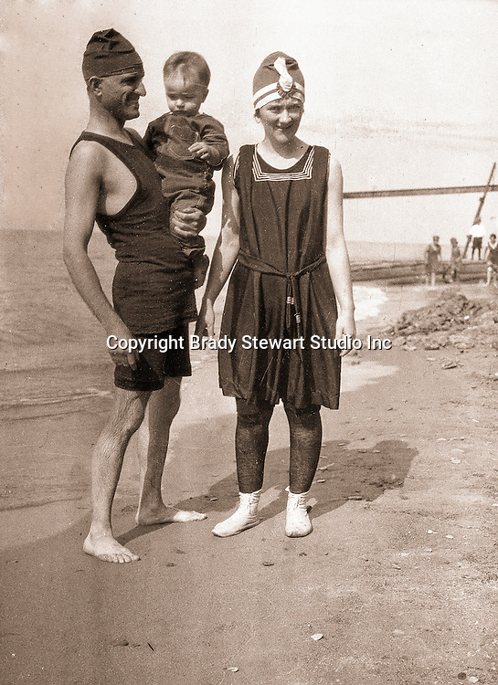 North East PA:  Brady Sr., Sarah and Brady Jr. on the beach - 1921