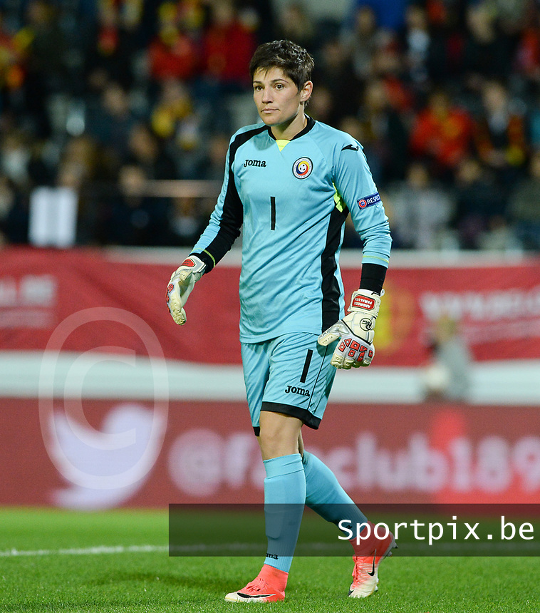 20171020 - LEUVEN , BELGIUM : Romanian Andreea Paraluta pictured during the female soccer game between the Belgian Red Flames and Romania , the second game in the qualificaton for the World Championship qualification round in group 6 for France 2019, Friday 20 th October 2017 at OHL Stadion Den Dreef in Leuven , Belgium. PHOTO SPORTPIX.BE   DAVID CATRY