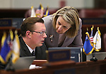 Nevada Senate Republicans Ben Kieckhefer and Barbara Cegavske work on the Senate floor at the Legislative Building in Carson City, Nev., on Sunday, June 2, 2013. <br /> Photo by Cathleen Allison