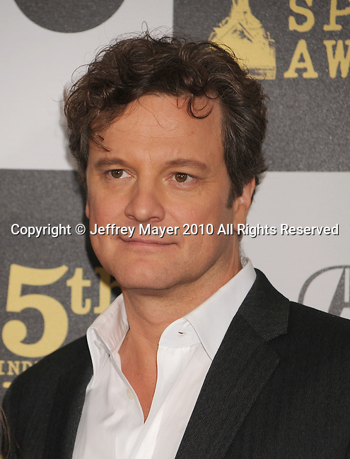 LOS ANGELES, CA. - March 05: Actor Colin Firth arrives at the 25th Film Independent Spirit Awards held at Nokia Theatre L.A. Live on March 5, 2010 in Los Angeles, California.