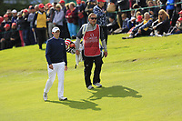 Matthew Fitzpatrick (ENG) and caddy Jamie walk to the 18th green on the 1st playoff hole during Sunday's Final Round of the 2017 Omega European Masters held at Golf Club Crans-Sur-Sierre, Crans Montana, Switzerland. 10th September 2017.<br /> Picture: Eoin Clarke | Golffile<br /> <br /> <br /> All photos usage must carry mandatory copyright credit (&copy; Golffile | Eoin Clarke)