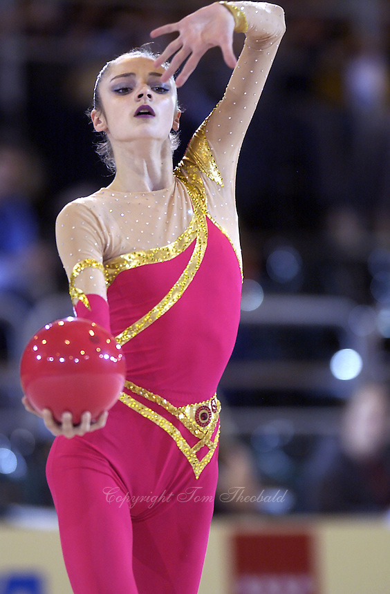 October 19, 2001; Madrid, Spain:  ANNA BESSONOVA of Ukraine performs with ball at 2001 World Championships at Madrid.